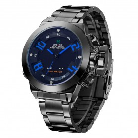 Weide Japan Quartz Stainless Strap Men LED Sports Watch 30M Water Resistance - WH1008 - Black/Blue