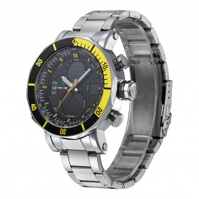 Weide Dual Time Zone Stainless Quartz LED Sports Watch 30M Water Resistance - WH5203 - White - 2