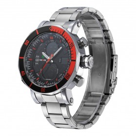 Weide Dual Time Zone Stainless Quartz LED Sports Watch 30M Water Resistance - WH5203 - Red