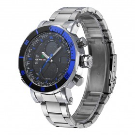 Weide Dual Time Zone Stainless Quartz LED Sports Watch 30M Water Resistance - WH5203 - Blue - 1