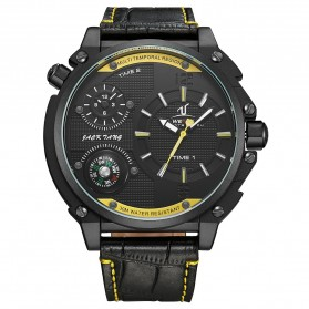 Weide Universe Series Dual Time Zone 30M Water Resistance - UV1507 - Black/Yellow