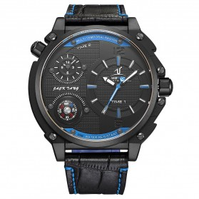 Weide Universe Series Dual Time Zone 30M Water Resistance - UV1507 - Black/Blue