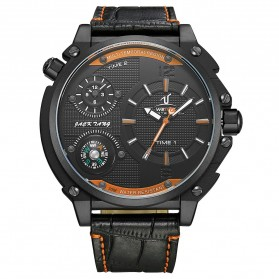 Weide Universe Series Dual Time Zone 30M Water Resistance - UV1507 - Black/Orange