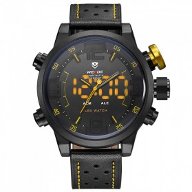 Weide Japan Quartz Miyota Men Leather Sports Watch 30M Water Resistance - WH5210 - Black/Yellow - 1
