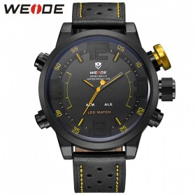 Weide Japan Quartz Miyota Men Leather Sports Watch 30M Water Resistance - WH5210 - Black/Yellow - 2
