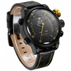 Weide Japan Quartz Miyota Men Leather Sports Watch 30M Water Resistance - WH5210 - Black/Yellow - 3