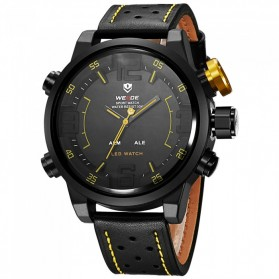 Weide Japan Quartz Miyota Men Leather Sports Watch 30M Water Resistance - WH5210 - Black/Yellow - 4