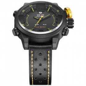 Weide Japan Quartz Miyota Men Leather Sports Watch 30M Water Resistance - WH5210 - Black/Yellow - 5