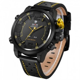 Weide Japan Quartz Miyota Men Leather Sports Watch 30M Water Resistance - WH5210 - Black/Yellow - 6