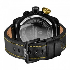 Weide Japan Quartz Miyota Men Leather Sports Watch 30M Water Resistance - WH5210 - Black/Yellow - 7