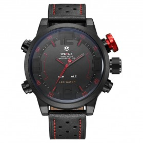 Weide Japan Quartz Miyota Men Leather Sports Watch 30M Water Resistance - WH5210 - Black/Red