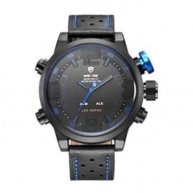 Weide Japan Quartz Miyota Men Leather Sports Watch 30M Water Resistance - WH5210 - Black/Blue