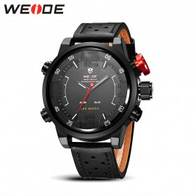 Weide Japan Quartz Miyota Men Leather Sports Watch 30M Water Resistance - WH5210 - Black