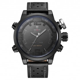 Weide Japan Quartz Miyota Men Leather Sports Watch 30M Water Resistance - WH5210 - Black/Black