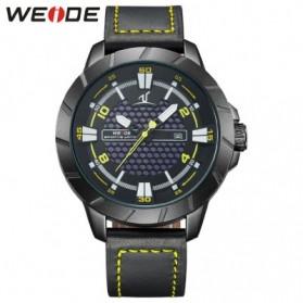 Weide Universe Series Quartz Leather Strap Water Restistant 30m- UV1608 - Black/Yellow - 1