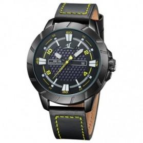 Weide Universe Series Quartz Leather Strap Water Restistant 30m- UV1608 - Black/Yellow - 2