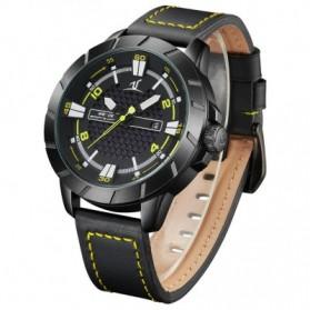 Weide Universe Series Quartz Leather Strap Water Restistant 30m- UV1608 - Black/Yellow - 4