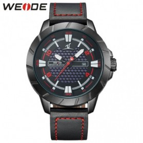 Weide Universe Series Quartz Leather Strap Water Restistant 30m- UV1608 - Black/Red - 1