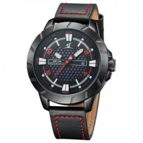 Weide Universe Series Quartz Leather Strap Water Restistant 30m- UV1608 - Black/Red - 2