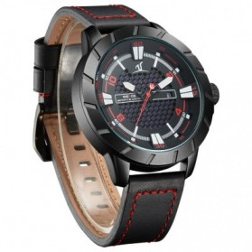 Weide Universe Series Quartz Leather Strap Water Restistant 30m- UV1608 - Black/Red - 3
