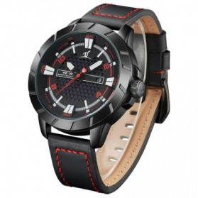 Weide Universe Series Quartz Leather Strap Water Restistant 30m- UV1608 - Black/Red - 4