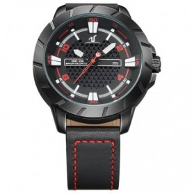 Weide Universe Series Quartz Leather Strap Water Restistant 30m- UV1608 - Black/Red - 5