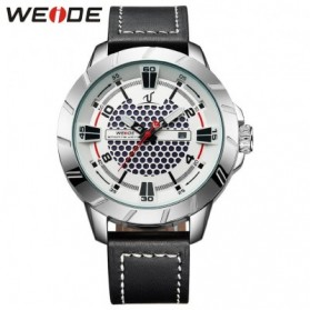 Weide Universe Series Quartz Leather Strap Water Restistant 30m- UV1608 - Black White