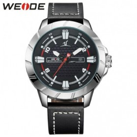 Weide Universe Series Quartz Leather Strap Water Restistant 30m- UV1608 - Black/Silver