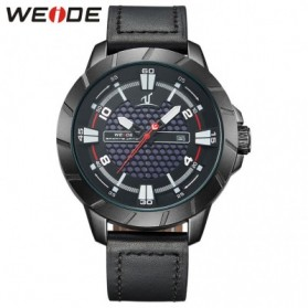 Weide Universe Series Quartz Leather Strap Water Restistant 30m- UV1608 - Black