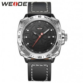 Weide Japan Quartz Leather Strap Men Sports Watch 30M Water Resistance - UV1510 - Silver Black