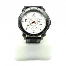 Weide Japan Quartz Leather Strap Men Sports Watch 30M Water Resistance - UV1601 - Black White