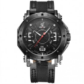 Weide Japan Quartz Leather Strap Men Sports Watch 30M Water Resistance - UV1601 - Black/Black