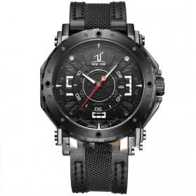 Weide Japan Quartz Leather Strap Men Sports Watch 30M Water Resistance - UV1601 - Black/Black