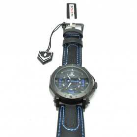 Weide Japan Quartz Leather Strap Men Sports Watch 30M Water Resistance - UV1601 - Blue - 2