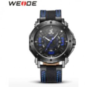 Weide Japan Quartz Leather Strap Men Sports Watch 30M Water Resistance - UV1601 - Blue - 3