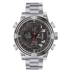 Weide Japan Quartz Stainless Steel Strap Men LED Sports Watch 30M Water Resistance - WH5209 - Silver
