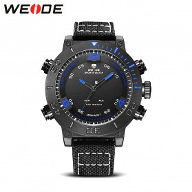 Weide Japan Quartz Miyota Men Nylon Leather Sports Watch 30M Water Resistance - WH6103 - Black/Blue