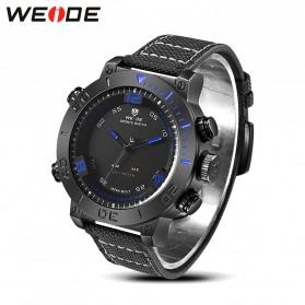 Weide Japan Quartz Miyota Men Nylon Leather Sports Watch 30M Water Resistance - WH6103 - Black/Blue - 4