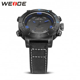 Weide Japan Quartz Miyota Men Nylon Leather Sports Watch 30M Water Resistance - WH6103 - Black/Blue - 5