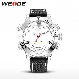 Weide Japan Quartz Miyota Men Nylon Leather Sports Watch 30M Water Resistance - WH6103 - White/Silver