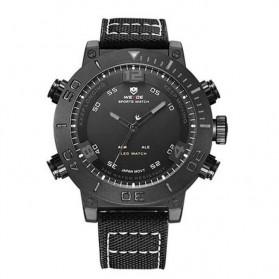 Weide Japan Quartz Miyota Men Nylon Leather Sports Watch 30M Water Resistance - WH6103 - Black/Black
