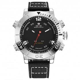 Weide Japan Quartz Miyota Men Nylon Leather Sports Watch 30M Water Resistance - WH6103 - Silver Black