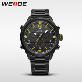 Weide Jam Tangan Analog Strap Stainless Steel - WH6303 - Black/Yellow