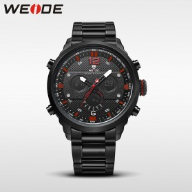 Weide Jam Tangan Analog Strap Stainless Steel - WH6303 - Black/Red