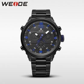 Weide Jam Tangan Analog Strap Stainless Steel - WH6303 - Black/Blue - 1