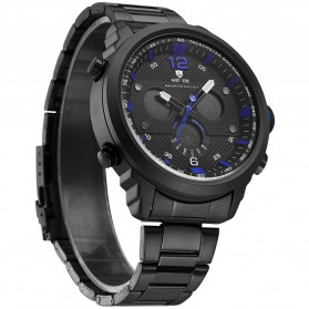 Weide Jam Tangan Analog Strap Stainless Steel - WH6303 - Black/Blue - 2