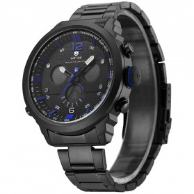 Weide Jam Tangan Analog Strap Stainless Steel - WH6303 - Black/Blue - 3