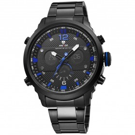 Weide Jam Tangan Analog Strap Stainless Steel - WH6303 - Black/Blue - 4