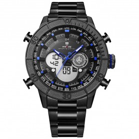 Weide Jam Tangan Digital Analog Strap Stainless Steel - WH6308 - Black/Blue