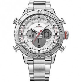 Weide Jam Tangan Digital Analog Strap Stainless Steel - WH6308 - White/Silver